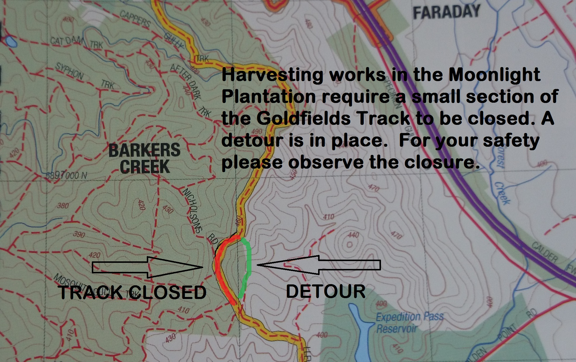Track closures due to plantation works.